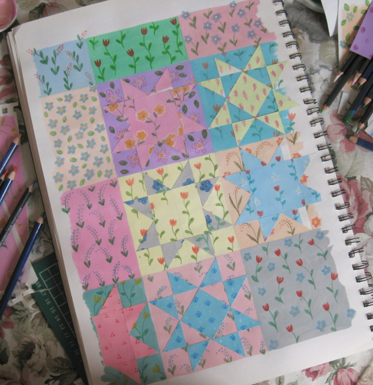 planning out the patchwork stars