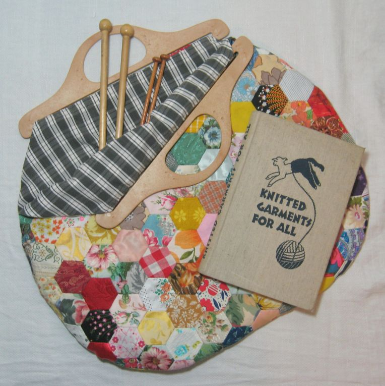 a vintage style knitting bag