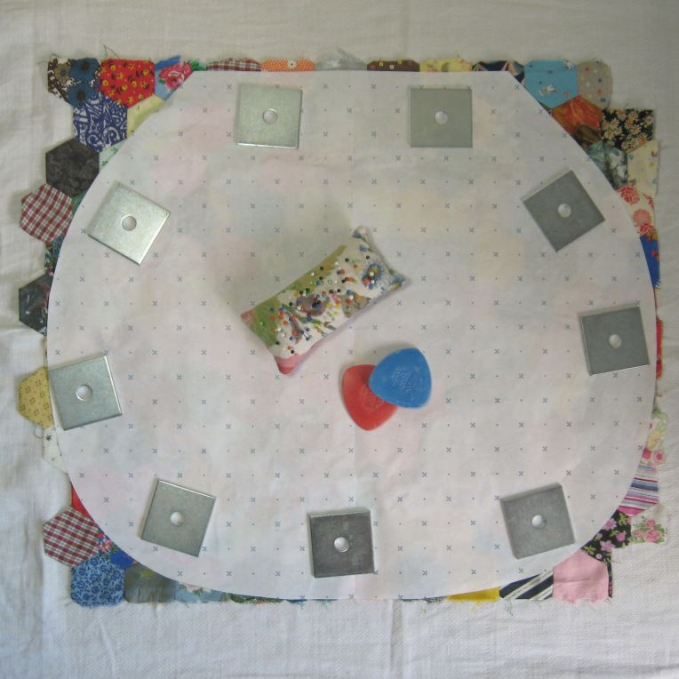 lay the pattern on your patchwork